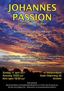 Poster Johannes Passion Bach